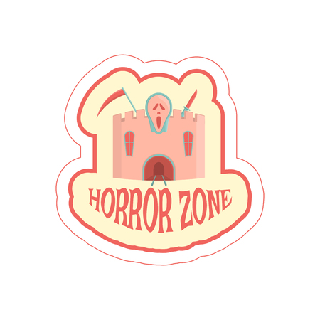 Sticker with cartoon horror castle and text. Vector illustration.