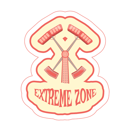 Sticker with cartoon ride double hammer and text extreme zone. Vector illustration.