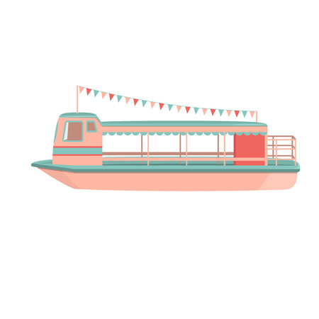 Motor cruiser. Cartoon riverboat icon. Isolated vector illustration