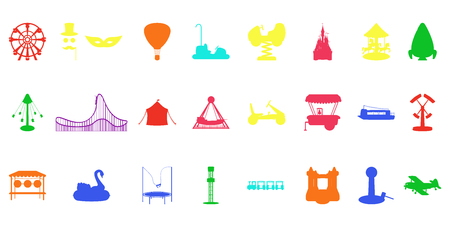 Amusement park silhouette rides. Isolated vector illustration