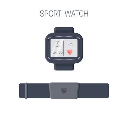 Montre de sport avec cardiofréquencemètre. Appareil d'entraînement pour athlètes multisports. Illustration vectorielle. Vecteurs
