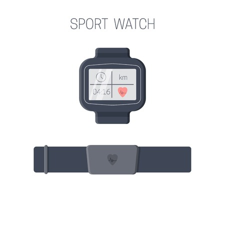 Sport  watch with heart rate monitor.  Training device for multisport athletes. Vector illustration.