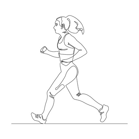 Silhouette or young running woman. Continuous line art style. Isolated vector illustration.