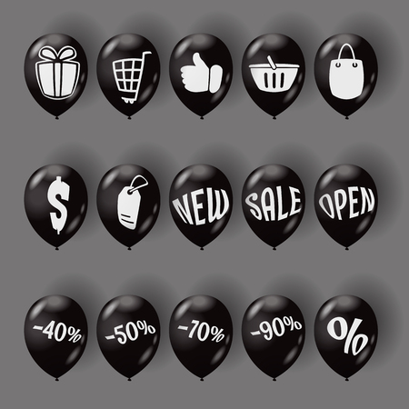 Collection of shopping icons on air balloons. Vector iiustration. Vettoriali