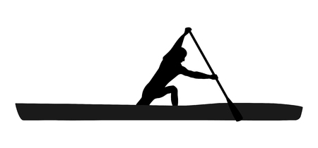 Black silhouette of sportsman paddling a kayak. Isolated vector illustration.