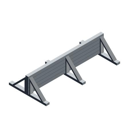Isometrische Holzwand. Hindernissymbol. Extremsport. Isolierte Vektorillustration