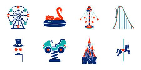 Conjunto de iconos de paseo en parque de atracciones de arte lineal.
