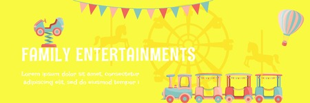 Bright amusement park poster with kids rides - car, hot air balloon, ferris wheel, carousel with horses, train and flags. Vector illustration.