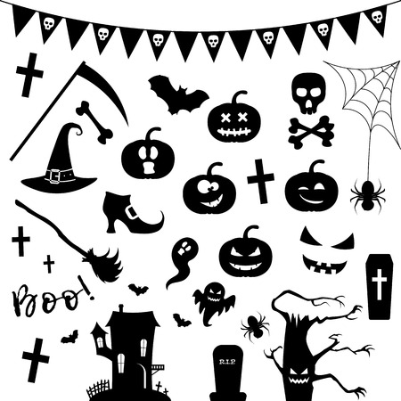 Halloween silhouette icon set with pumpkin, chost, horror castle, bat, tree, spider web and other holiday symbols.Vector illustration. 일러스트