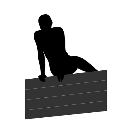 Black silhouette of a man overcoming the wall. Obstacle race symbol. Vector illustration. 일러스트
