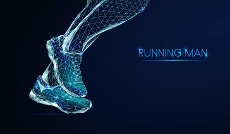 Füße des rennenden Mannes. Low Poly Style Design. Abstrakter geometrischer Hintergrund. Verbindungsstruktur für Drahtgitterlicht. Niedriges polygonales Design. Modernes 3D-Grafikkonzept. Isolierte Vektorillustration.