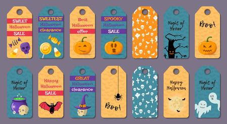 Set of cartoon halloween templates. Vector illustration. Illustration