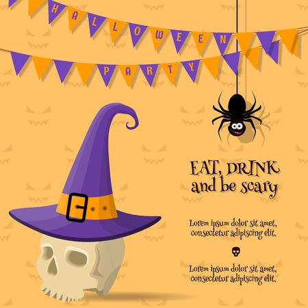 cartoon halloween card 矢量图像
