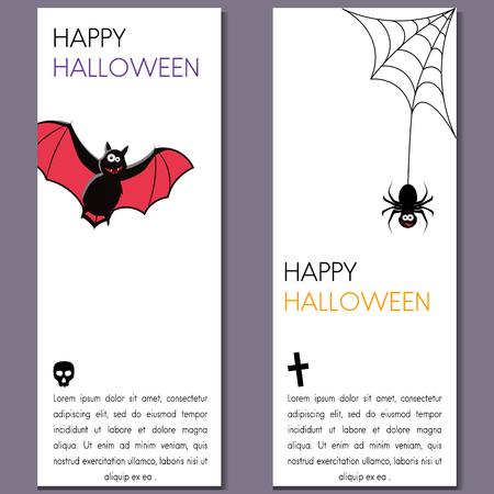 Set of cartoon Halloween templates. Vector illustration.