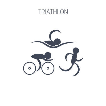 Triathlon symbol - running, swimming and cycling men. Simple graphic design. Isolated vector illustration.