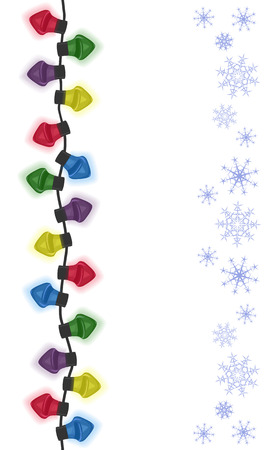 Cartoon seamless vertical garland with snowflakes. Vector illustration.