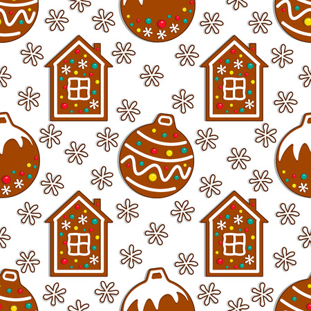 Cartoon gingerbread candy seamless pattern on white background with christmas toy and ginger house. Vector illustration. 向量圖像