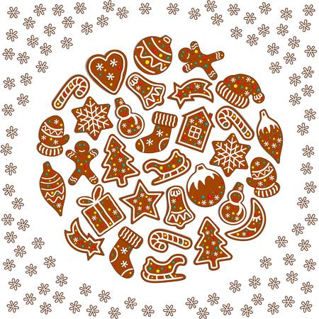Cartoon Christmas and New Year greeting card.