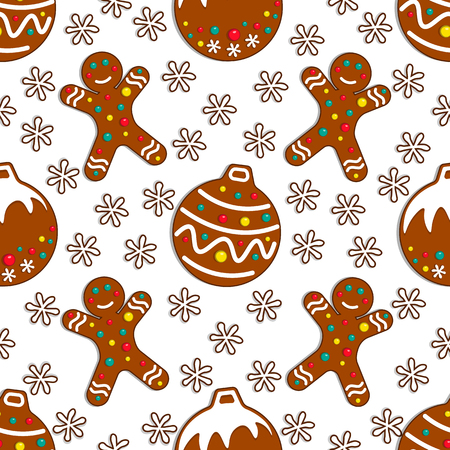 Cartoon gingerbread candy seamless pattern on white background with christmas toy and gingerman. Vector illustration.