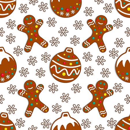 Dibujos animados de patrones sin fisuras de dulces de pan de jengibre sobre fondo blanco con juguetes de Navidad y gingerman. Ilustración vectorial.