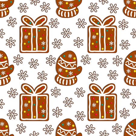 Gingerbread candy seamless pattern on white background with christmas gift box and winter mitten. Vector illustration.