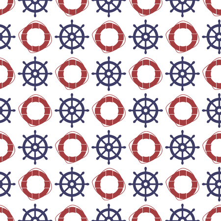 Nautical seamless pattern with wheel and ring lifebuoy. Vector illustration