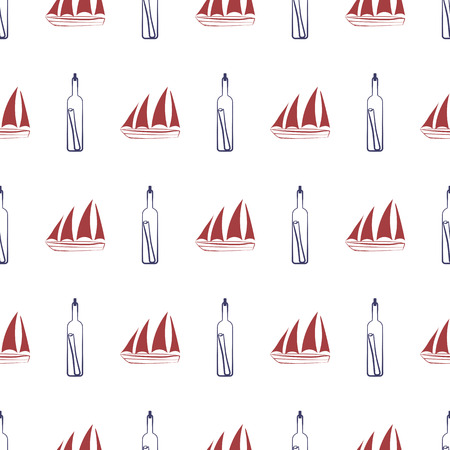 Nautical seamless pattern with ship and bottle. Vector illustration