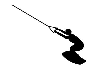 Silueta negra de un hombre en wakeboard sobre fondo blanco.