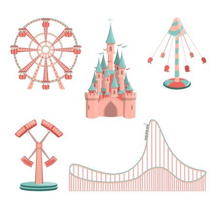 Ensemble d'icônes de manèges de parc d'attractions de dessin animé Vecteurs