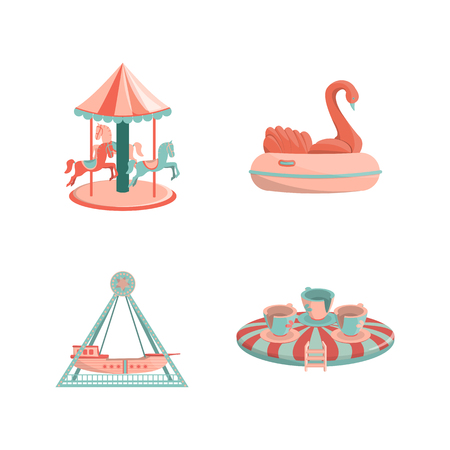 Cartoon amusement park rides icon set. Carousel with hourses, inflatable swan, ship ride, swing cups. Isolated vector illustration.