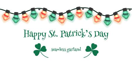 Seamless garland for St Patrick's Day. Vector illustration. Archivio Fotografico - 125910333