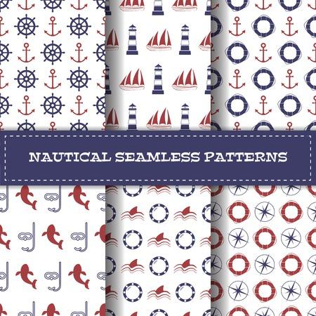 Set of nautical seamless patterns. Vector illustration