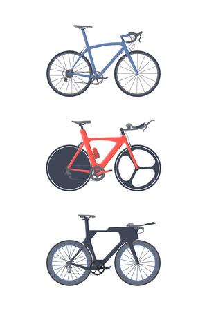 Road bike set. Flat icons. Triatlon bikes.