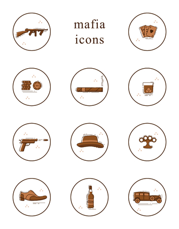 Line art  icon set. Collection of mafia symbols. Isolated vector illustration. Illustration