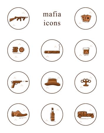 Line art icon set. Collection of mafia symbols. Isolated vector illustration.