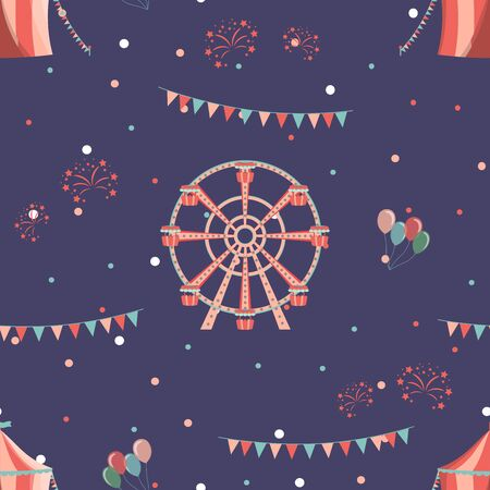 Amusement park seamless pattern with ferris wheel and circus. Illustration