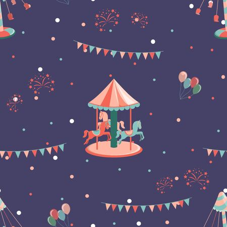 Amusement park seamless pattern with carousel with hourses and carousel. Illustration