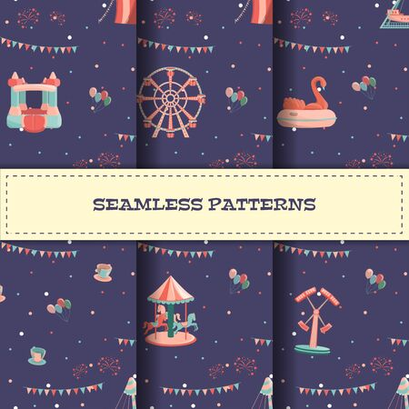 Set of amusement park seamless patterns with rides