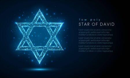 Star of David. Low poly style design. Illustration