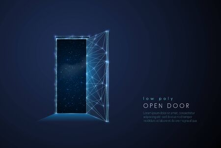 Abstract open door to universe. Low poly style design Vecteurs