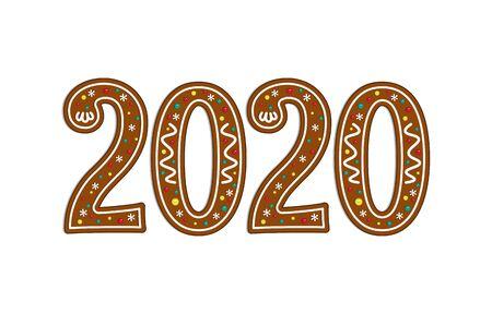 Gingerbread christmas symbol. New year icon. 2020. Vector illustration. Çizim