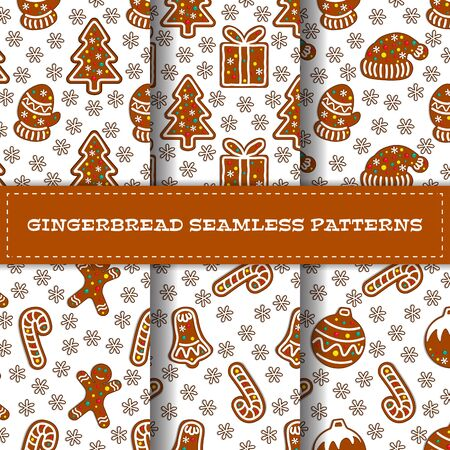 Set of gingerbread seamless patterns with fir tree, mittens, gift box, hat, candy stick bell, gingerman, christmas toy. Vector illustration Иллюстрация
