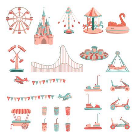 Vector cartoon amusement park rides icon set.