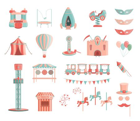 Cartoon amusement park rides icon set. Shooting gallery, ticket office, kids train, car, rocket, freefall tower, ticket office, carnival masks, carousel with hourses, fireworks. Isolated vector.