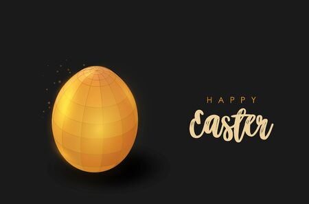 Abstract golden egg. Low poly style design.