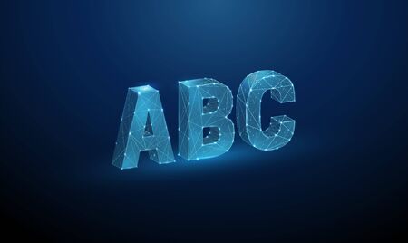 Abstract letters ABC. Low poly style design.