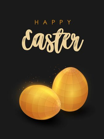 Low poly golden easter eggs. Happy easter card.