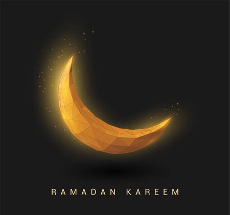 Abstract golden crescent. Ramadan Kareem background. Low poly style Vettoriali