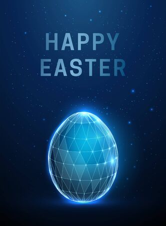 Abstract egg. Happy easter card. Low poly style design.