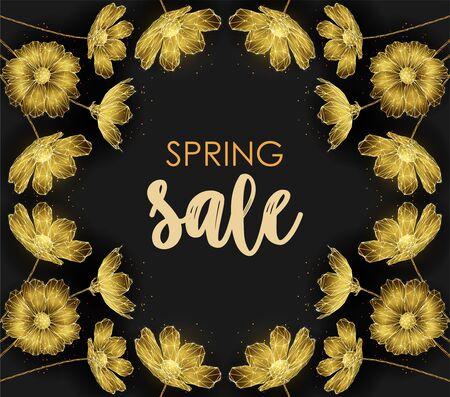 Low poly golden flower frame. Spring sale template